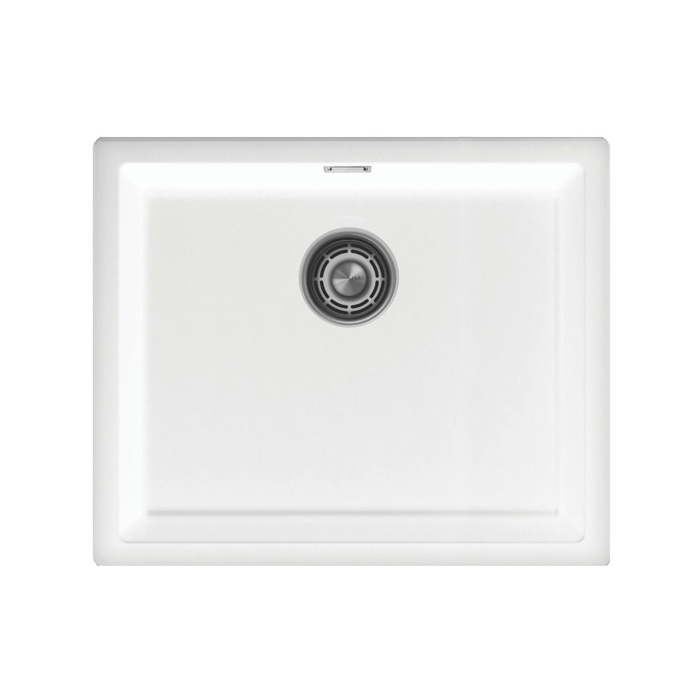 Branco Bacia De Cozinha - Nivito CU-500-GR-WH Brushed Steel Strainer ∕ Waste Kit Color